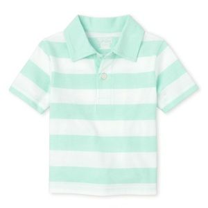 NWT Children's Place Sea Green Striped Polo Top 3T